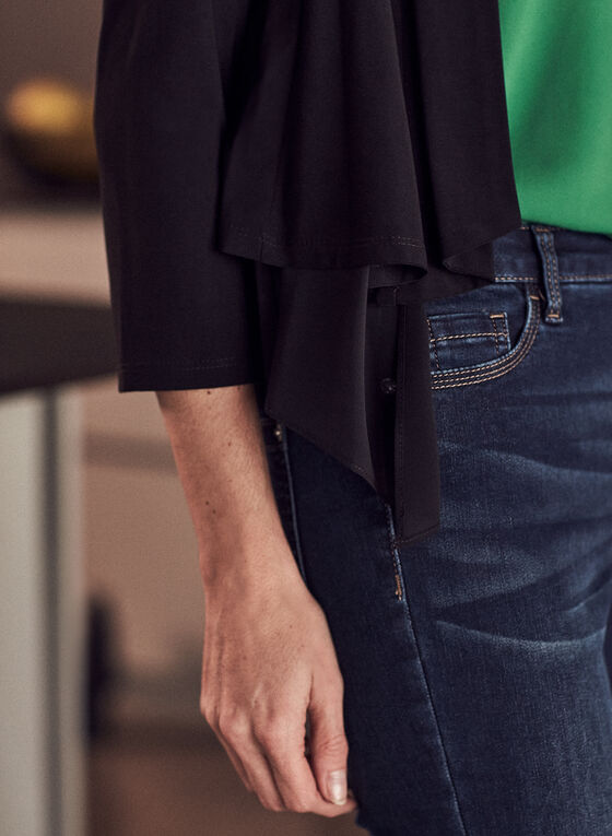 3/4 Sleeve Open Front Top, Black