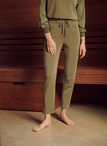 Pantalon de détente à taille élastique, Vert,  pantalon, détente, à enfiler, pull-on, jambe droite, taille élastique, oeillets dorés, cordon, poches, extensible, printemps été 2021