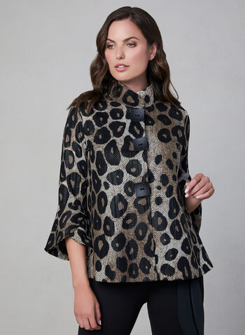 Frank Lyman - Leopard Print Jacket, Black,  fall winter 2019, leopard print, bell sleeve, 3/4 sleeves