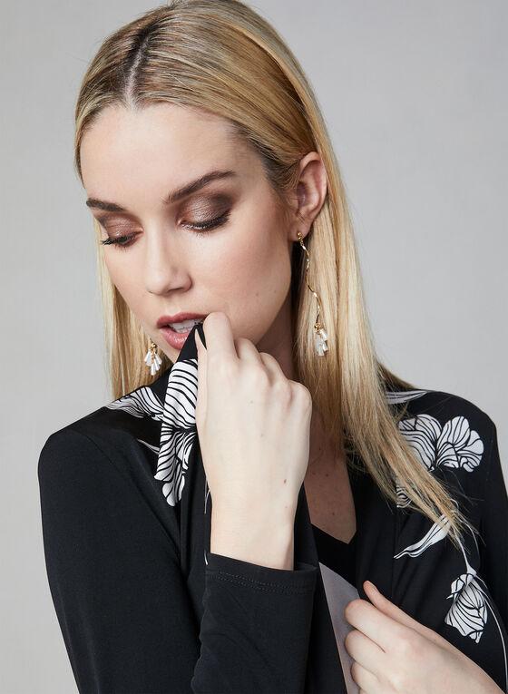 Haut ouvert fleuri en jersey, Noir, hi-res