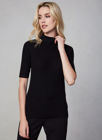 Short Sleeve Knit Sweater , Black, hi-res,  sweater, short sleeve, pearls, knit, fall 2019, winter 2019
