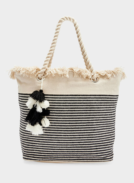 Tote Bag With Pompom Details, Black, hi-res