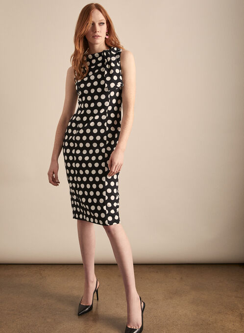 Maggy London - Polka Dot Print Midi Dress, Black