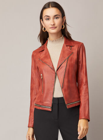 Vex - Zipper Detail Faux Leather Jacket, Brown,  jacket, faux leather, zipper detail, notched collar, fall winter 2020