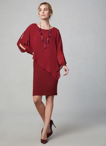 Joseph Ribkoff - Asymmetrical Poncho Dress, Red,  Canada, Joseph Ribkoff, dress, evening dress, asymmetrical, long sleeves, chiffon, jersey, fall 2019, winter 2019