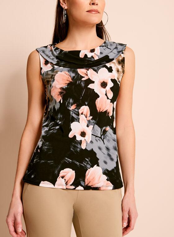 Haut à fleurs avec col drapé, Noir, hi-res