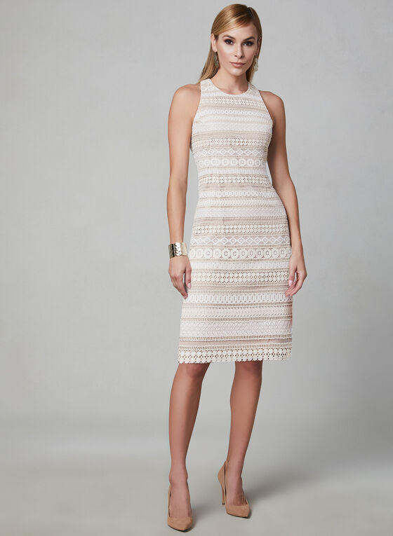 Eliza J - Sleeveless Crochet Dress, White, hi-res