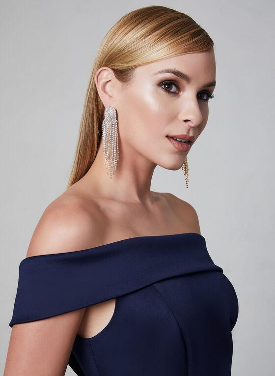 Off-the-Shoulder Satin Gown, Blue, hi-res
