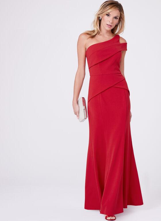 Cachet - One Shoulder Peplum Crepe Dress, Red, hi-res