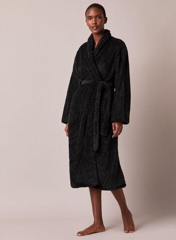 Textured Plush Robe, Black,  fall winter 2020, robe, loungewear, pj, pyjama, sleepwear, fleece, plush, textured, embossed, ultrasoft, warm, holiday, gift, shawl collar, long sleeve, made in canada