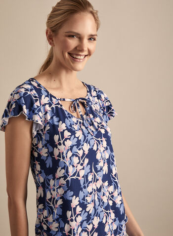 Hamilton - Floral Print Pyjama Set, Blue,  Canada, Hamilton, pyjama, sleepwear, set, floral print, capris, short sleeves, spring 2020, summer 2020