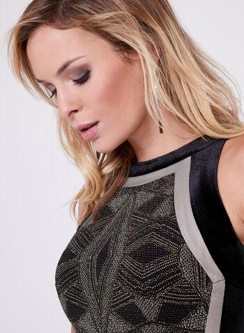 Robe en fibre métallisée et détails aspect velours, Noir, hi-res