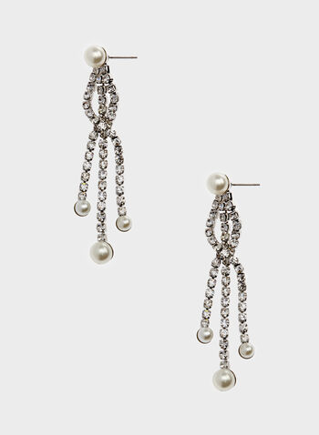 Crystal & Pearl Cascade Earrings, Off White, hi-res