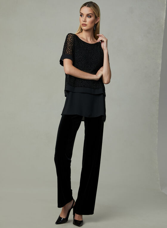 Layered Crepe Top , Black, hi-res
