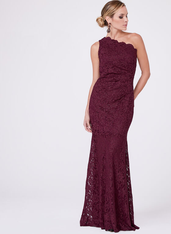 Decode 1.8 - One Shoulder Glitter Lace Dress, Red, hi-res