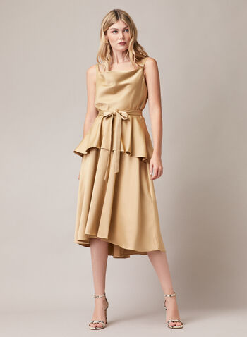 Satin Peplum Style Dress, Gold,  dress, evening, satin, sleeveless, bow, peplum, spring summer 2020