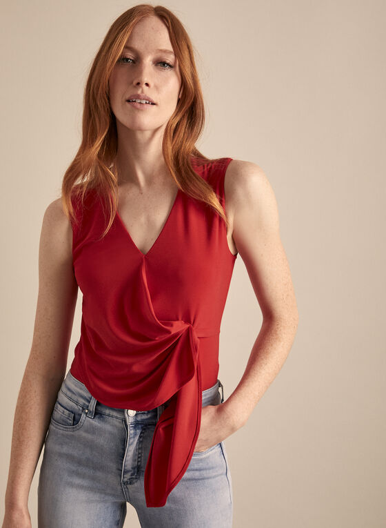 Sleeveless V-Neck Top, Red