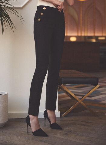 Pull-On Slim Leg Pants, Black,  pants, pull-on, slim leg, bengaline, button detail, spring summer 2021