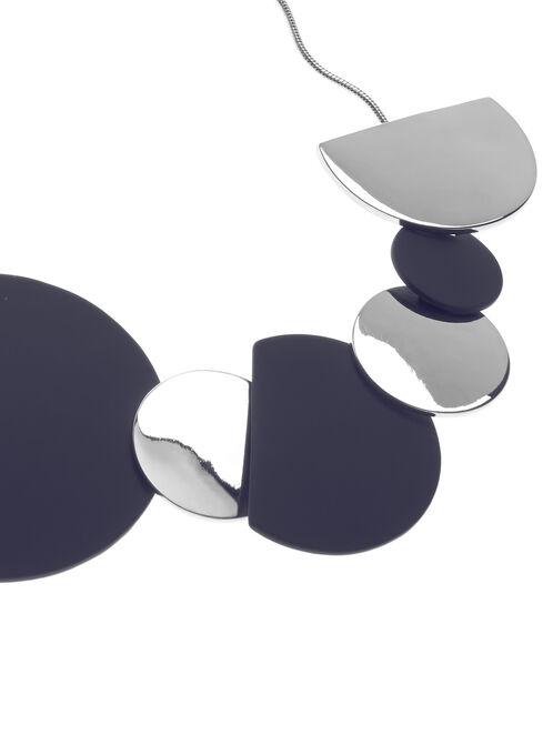 Collier chaîne serpentine à accents géométriques, Bleu, hi-res
