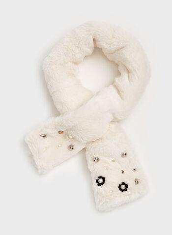 Écharpe simili fourrure et perles avec passant , Blanc cassé, hi-res
