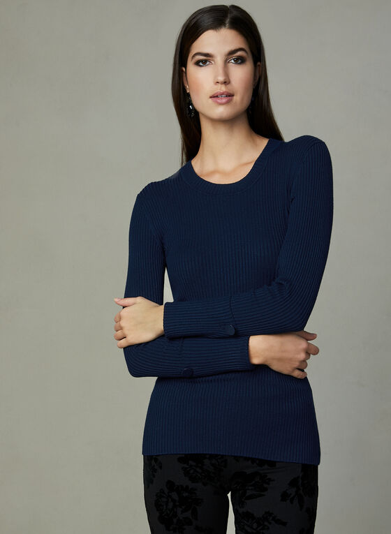 Ribbed Knit Sweater, Blue, hi-res