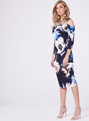 Jax - Floral Print Cold Shoulder Dress, Multi, hi-res