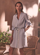 Belted Shirt Dress, White