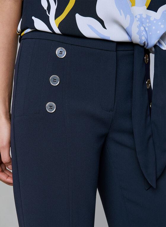 Pantalon en crêpe à jambe large et détails boutons, Bleu