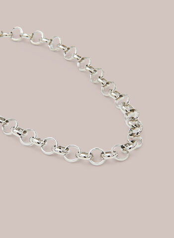 Short Chain Necklace, Silver,  necklace, chain, link, large, circle, metallic, spring summer 2021