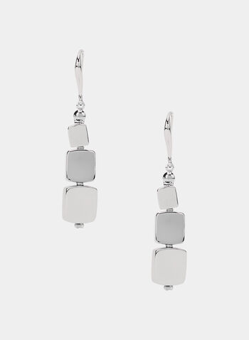 Metallic Square Dangle Earrings, Silver, hi-res