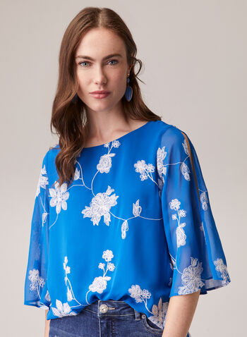 Floral Embroidered Chiffon Blouse, Blue,  blouse, chiffon, boat neck, slit sleeves, layered, floral, embroidery, spring summer 2020