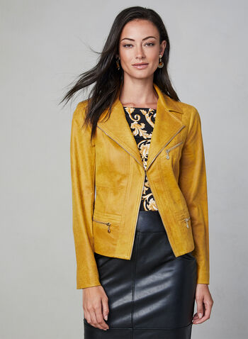 Vex - Faux Suede Zipper Trim Jacket, Gold, hi-res,  zipper trim, faux suede, metallic hardware, open front, notch collar, long sleeve, fall 2019, winter 2019
