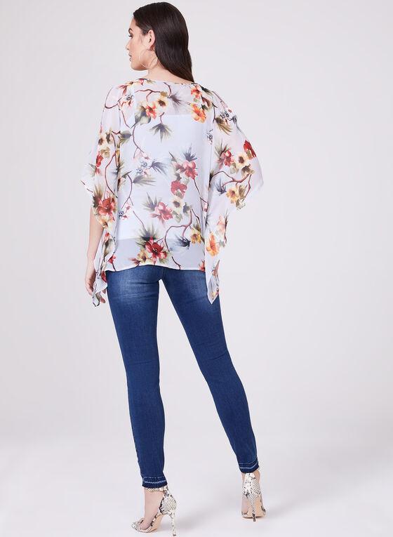 Blouse poncho fleurie asymétrique, Bleu, hi-res