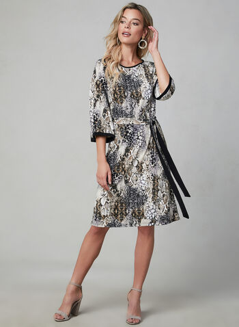 Snakeskin Print Dress, Black, hi-res,  Canada, snakeskin print, 3/4 sleeves, flared sleeves, day dress, fall 2019, winter 2019