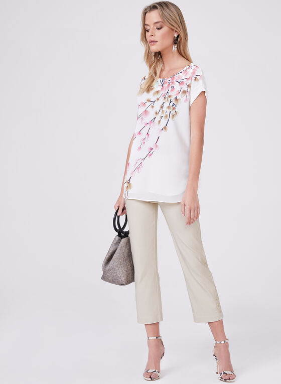 Blouse florale à manches courtes, Blanc, hi-res