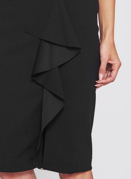 Ruffle Front Pencil Skirt , Black, hi-res