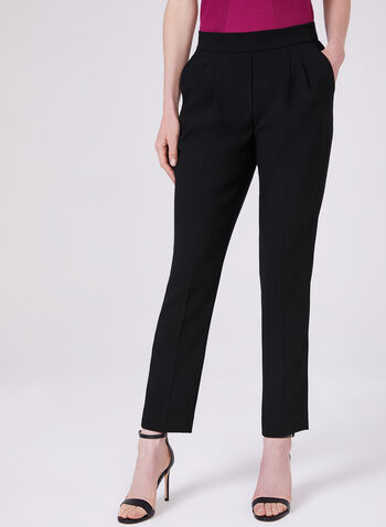 Slim Leg Pull-On Ankle Pants, Black, hi-res