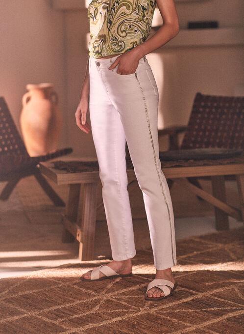 Jeans à jambe étroite et détails métallisés, Blanc