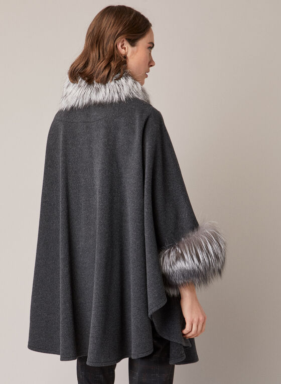 Mallia - Fur & Cashmere Blend Coat, Grey