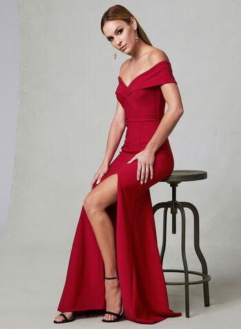 BA Nites - Off The Shoulder Dress, Red, hi-res,  sweetheart, slit, spring 2019