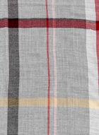 Foulard pashmina à carreaux et franges, Gris, hi-res