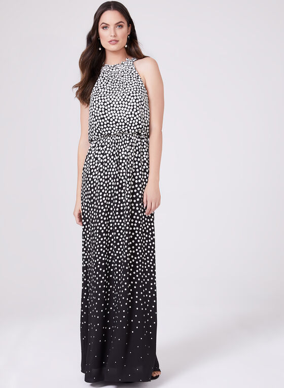 Adrianna Papell - Polka Dot Print Maxi Dress, Black, hi-res