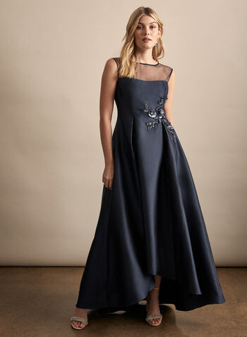 Adrianna Papell - High-Low Satin Dress, Blue,  spring summer 2020, satin fabric, fit & flare silhouette, illusion yoke, sweetheart neckline, back zipper
