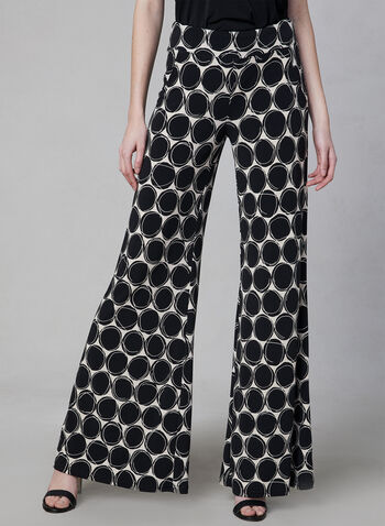 Joseph Ribkoff - Geometric Print Wide Leg Pants, Black, hi-res