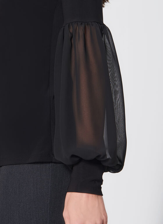 Chiffon Balloon Sleeve Jersey Top, Black, hi-res