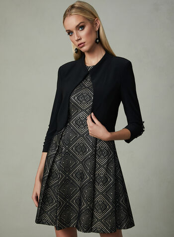 Joseph Ribkoff - Button Trim Jersey Bolero, Black, hi-res,