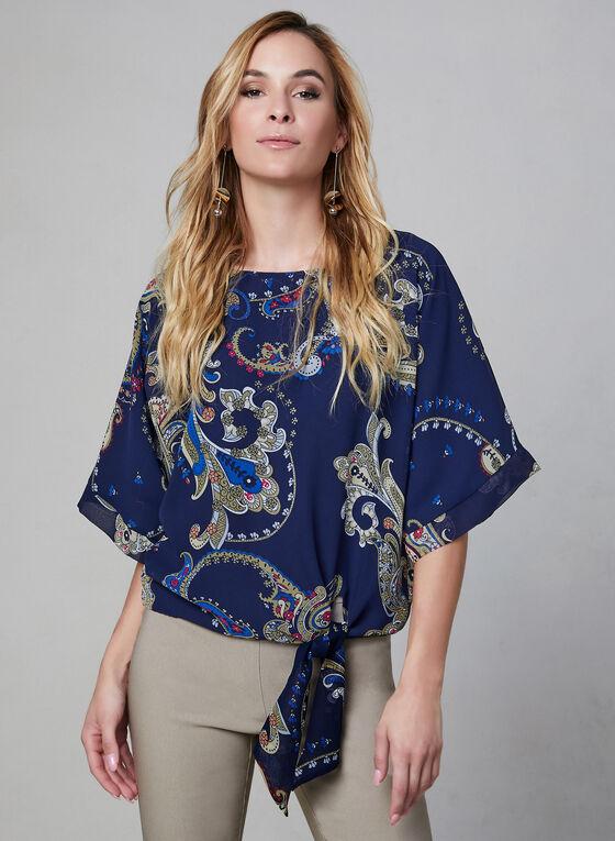Paisley Print Kimono Blouse, Blue