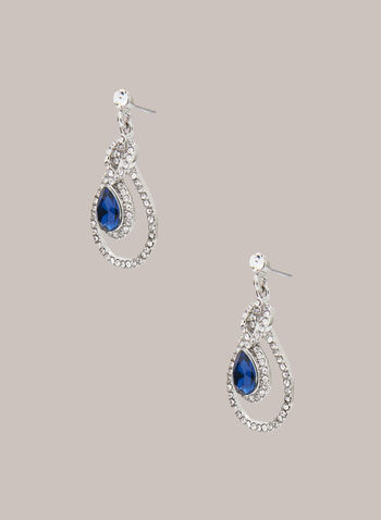 Faceted Stone Dangle Earrings, Blue,  jewellery, earrings, dangle, faceted stone, teardrop, fall winter 2020