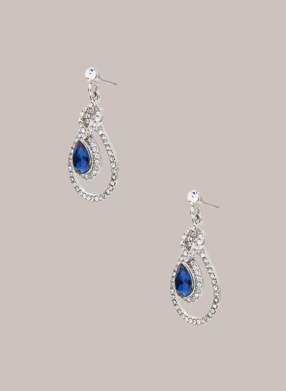 Boucles d'oreilles cristaux et pierre facettée, Bleu