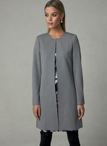Long Open Front Jacket, Grey, hi-res